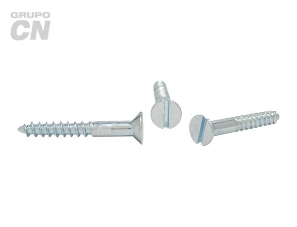 Tornillo Cabeza plana embutida ranurada cuerda rolada (para madera) #9 (4.4mm) 14 hilos