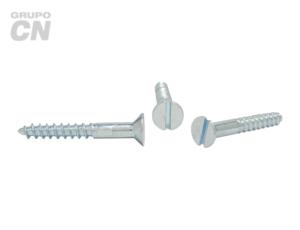 Tornillo Cabeza plana embutida ranurada cuerda rolada (para madera) #12 (5.4mm) 11 hilos