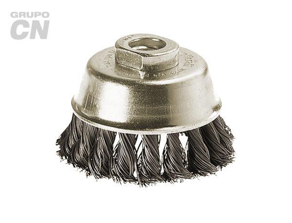 Cepillo de copa de alambre liso trenzado entrada métrica m14
