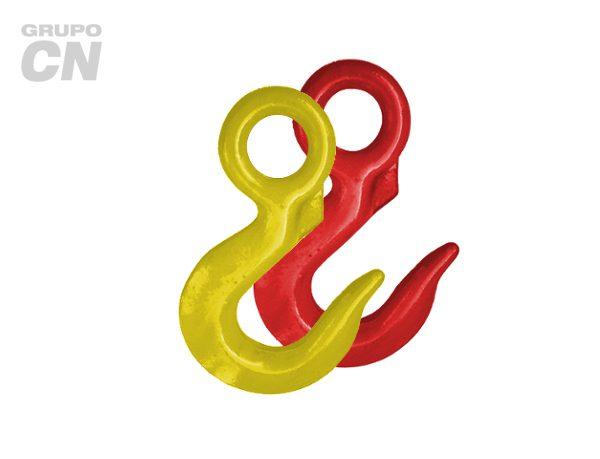 Ganchos de carga para cable de acero sin seguro grado 70, pintado rojo y/o amarillo