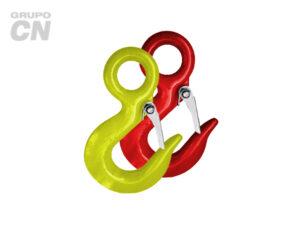Ganchos de carga para cable de acero con seguro grado 70, pintado rojo y/o amarillo